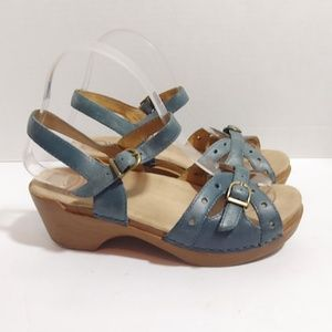 Dansko blue leather platform sandals